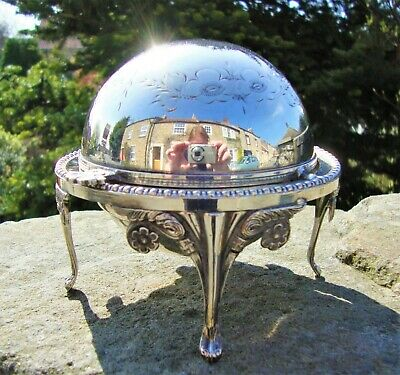 Antique Silver Plated Roll Top Butter Dish / Caviar Server  Beautifully Engraved