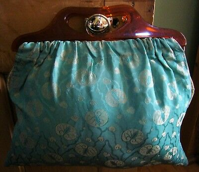 Vintage Hand Made Knitting Bag - Reversible - Lucite Handles - In Good Condition