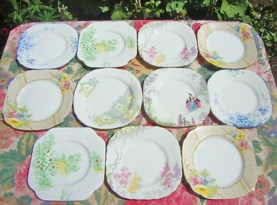 11 x Stunning Vintage Art Deco Mismatched China Plates - Wedding / Tea Party