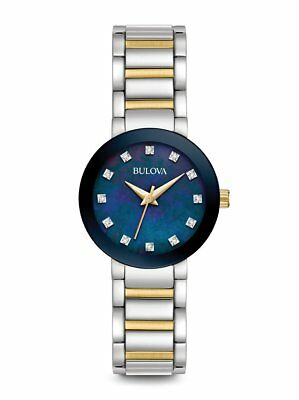*BRAND NEW* Bulova Women's Two Tone Steel Blue Mother of Pearl Dial Watch 98P157