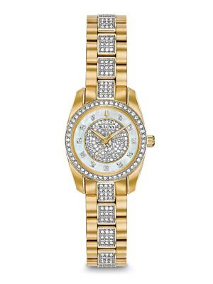 *BRAND NEW* Bulova Women's Gold Tone Stainless Steel Crystals Band Watch 98L241