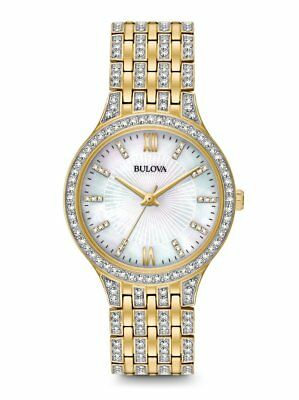 *BRAND NEW* Bulova Women's White Mother of Pearl Crystals Gold SteelWatch 98L234