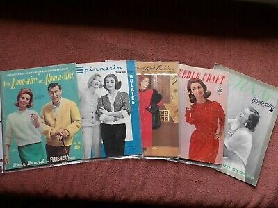 Knitting Magazines Lot of 5 Spinnerin, Bernat, Fleishers, Needlecraft, and more
