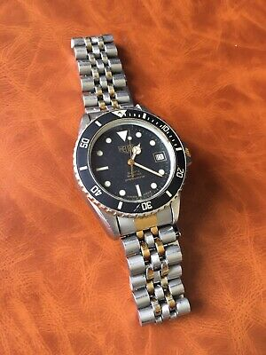 Very Rare Vintage (pre Tag) Heuer 1000 Professional Diver's Watch 1980's 2-tone