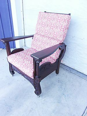 ANTIQUE OAK MORRIS CHAIR CARVED ORIGINAL FINISH COLUMNS -SELLING OUT Make Offer