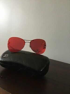 ab12f22a3a CHANEL 4218 C.124 6Q Silver Mirrored Red Pilot Sunglasses Gorgeous ...