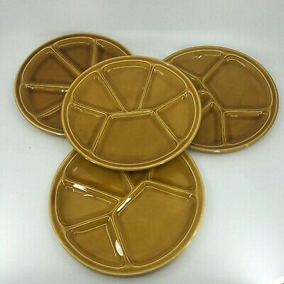 """Gien France Amber Yellow Gold Fondue Divided Plate Dish 8.5"""" Set of 4"""
