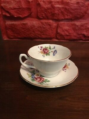 ROYAL GRAFTON TEA CUP AND SAUCER white FLORAL ROSE PATTERN TEACUP J6