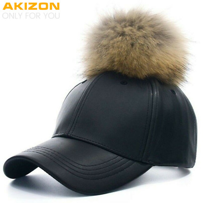 2019 New Real Fur Pom Pom Cap For Women Spring Candy Color PU Baseball Cap Cute