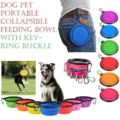 Pet Dog Water Feeding Bowl Silicone Travel Camp Play Disc Portable Collapsible A
