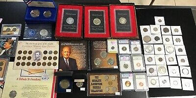 Lot 47 Coin Collection Silver Ike Dollar Morgan Peace Large Cent 2 & 3 Cent $741