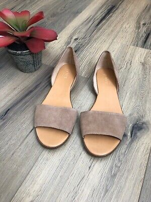 70f4bae5386 J Crew Factory 8.5 d Orsay Flats Brown Tan Suede Peep Toe Sandals Slides EUC