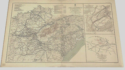 Antique Civil War Map 1861 - 1865 Army of the Cumberland