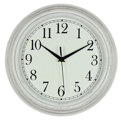 Hometime Wall Clock Deep Case White Vintage Style