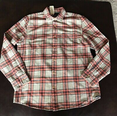 Grayers Eden Heritage Flannel Salmon Orange Plaid LS Button Down Large NWT $98