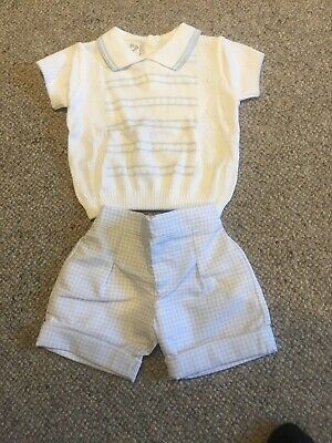 BNWT Boys Pale Blue & White Pretty Originals  Outfit Set Top And Shorts 12m
