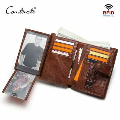 crazy horse cow leather RFID men wallets credit card holders mens