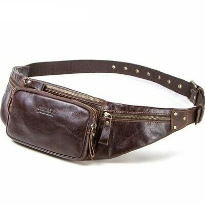 cow leather men waist bag new casual small fanny pack male waist pack