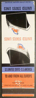 ss United States / America . US Lines Match Book Cover . 1950's Cruise Ship Boat