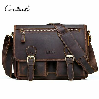 Genuine Crazy Horse Cowhide Leather Men Messenger Bag For Laptop Male