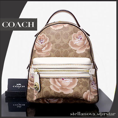 33fd50fbe49c4 NWT  350 COACH Campus Backpack 23 In Signature Rose Print 30954 ...