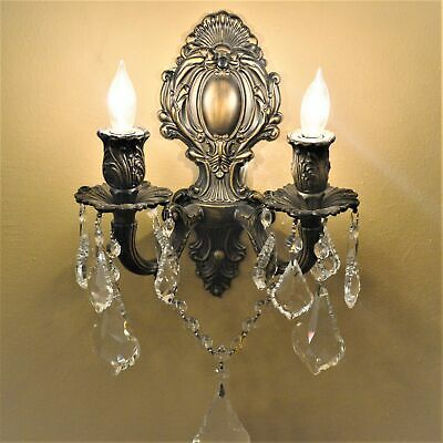"Versailles 2 Light Antique Bronze Finish Crystal Candle Wall Sconce 12""W x 13""H"