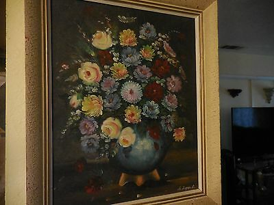 Oil Painting on Canvas Still-life Floral Roses Display on Vase Signed A. Zapinal