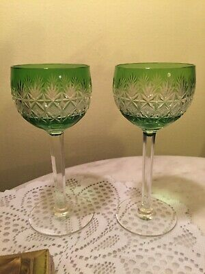 Antique Brilliant Green Cut to Clear Wine Glass Pair-Crystal
