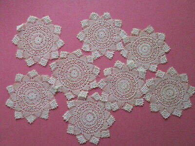 """8 LACE DOILIES Antique Tenerife Hairpin Drink Coasters Teacup Mats Small 4"""" Set"""