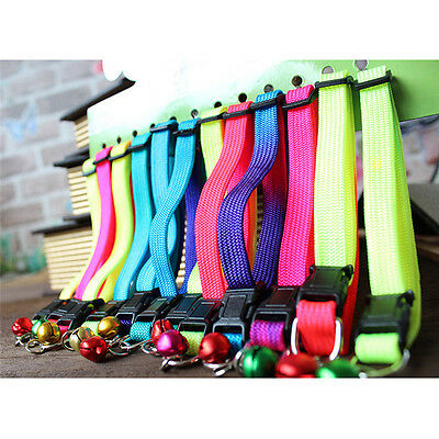 12PCS/Lot Cat Collars Dog Pet Puppy Color Buckle Nylon Collar W/Bell Wholesale