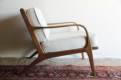 Vintage Mid Century Modern Danish Sculptural Teak Side Arm Lounge Chair