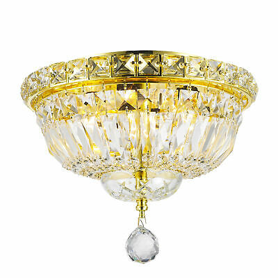 """Empire 4 Light Gold Finish and Clear Crystal Flush Mount Ceiling Light 10""""D 8""""H"""