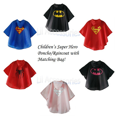 Children's Super Hero Poncho Raincoat with Matching Bag