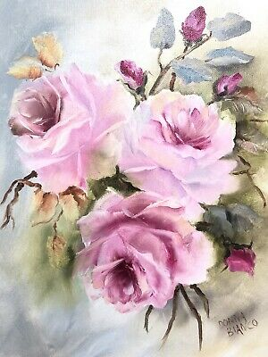 Hand Painted Pink Roses Oil 11 X 14 Canvas Shabby Chic Victorian Antique Style