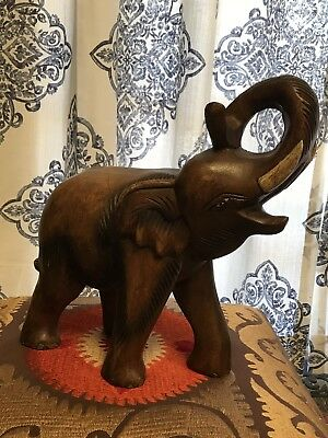 Thai Elephant Statue Figurine Wooden Hand Carved Decor Stand Trunk