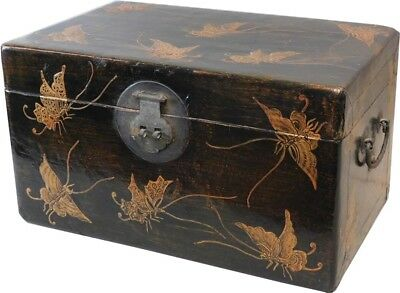 Black Leather Box with Butterflies Paintings (77-318)