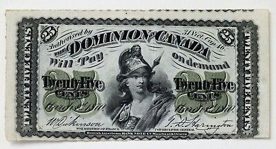 Canada 1870 25 Cent Fractional Banknote Dickinson Harrington Miscut