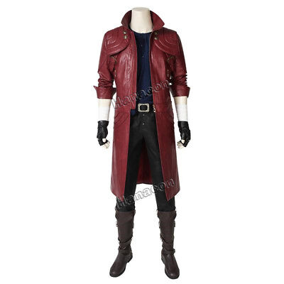 Devil May Cry5 Costume DMC5 Dante Cosplay Leather Jacket Pants Belt Outfit Props