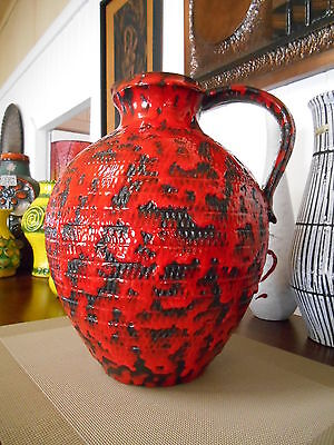 Vintage fat lava 1960's vase, West German pottery by FOHR, mid century modern