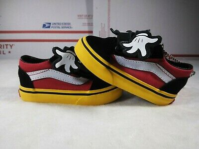 ee8b4a0db2 Vans x Disney Old Skool V Mickey Mouse Hug Black Red Yellow Toddler sz 4.5