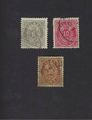 Iceland Scott Numbers 10 thru 12 Used Stamps with # 11 having small thin
