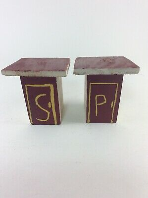 Vintage Handmade Outhouse Salt and Pepper Shakers Wooden 1960's (child-made?)