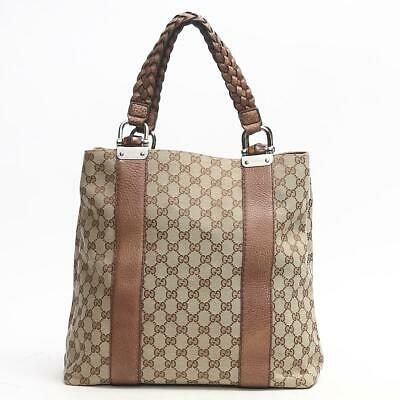 33ed2a4df72c37 Authentic GUCCI Tote Hand Bag 232946 GG Canvas Leather Beige Brown Used  Vintage