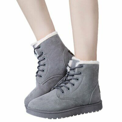Women Girls Ladies Winter Faux Fur Ankle Snow Boots Warm Comfy Casual Flat Shoes