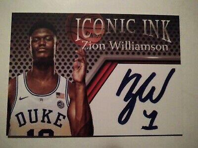 2018 Iconic Ink Zion Williamson, Rookie, Duke Blue Devils, Fac Auto