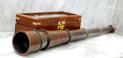 Nautical Brass copper Antique Telescope W/Wooden Box Navigational Xmas Gift