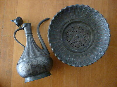 Antique 18C Ottoman Persian Greek Middle East Islamic Ewer Basin Set Jug Pitcher