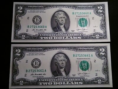 UNCIRCULATED CONSECUTIVE TWO U s  2 Dollar Bills Lot Fancy Serial Numbers  2013