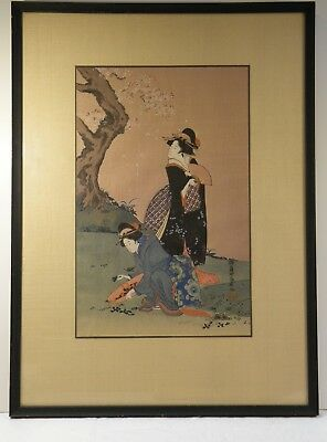 PICS:  JAPANESE WOODBLOCK REPRINT, WOMEN PICKING DANDELIONS Teisai Hokuba