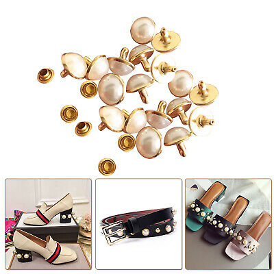 Ivory Pearls Rivets Studs Brass for DIY Craft Leather Bag Jeans Shoes Decoration